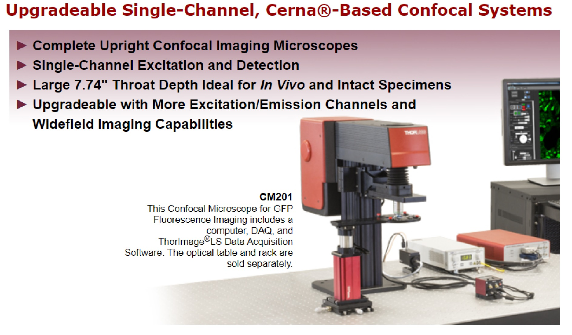 Upgradeable Single-Channel, Cerna®-Based Confocal Systems